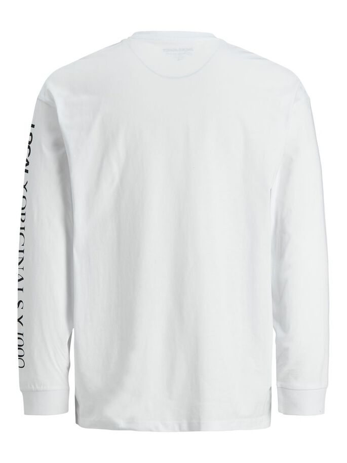 BOXY FIT PRINT LONG-SLEEVED T-SHIRT, White, large