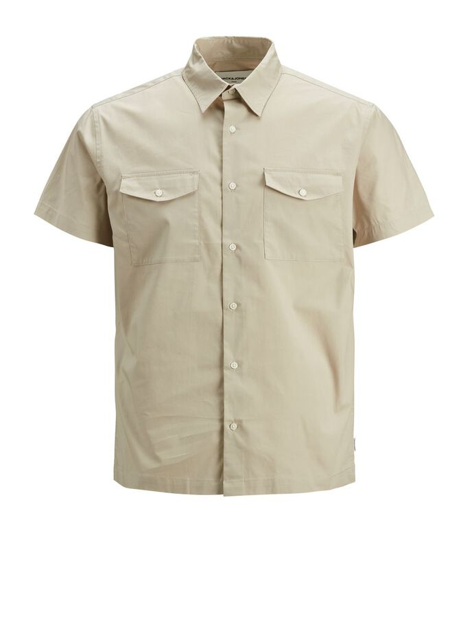 TWILL-WEAVE SLIM FIT SHORT SLEEVED SHIRT, Pure Cashmere, large