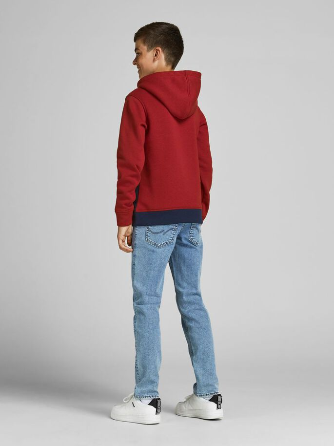 JUNGS COLOURBLOCKING HOODIE, Red Dahlia, large