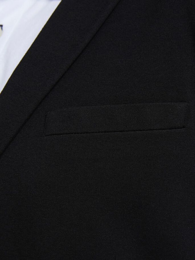 VISCOSE SIMPLE BOUTONNAGE BLAZER EN GRANDES TAILLES, Black, large