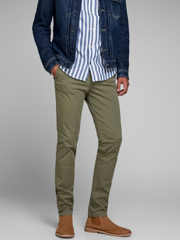 new styles best price store JACK & JONES MARCO BOWIE SA OLIVE NIGHT SLIM FIT CHINOS