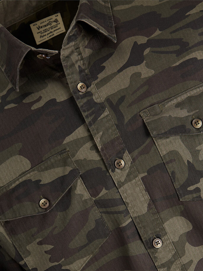 CAMO LONG SLEEVED SHIRT, Rosin, large