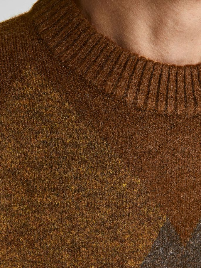 CREW NECK KNITTED JUMPER, Sequoia, large