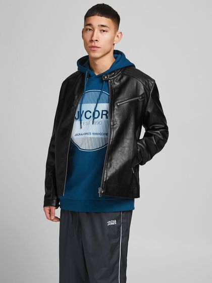 RACER FAUX LEATHER JACKET