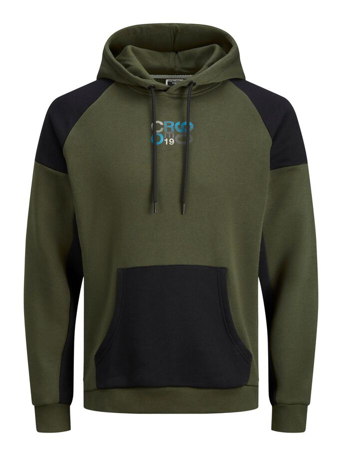 LOOPBACK DRAWSTRING HOODIE, Forest Night, large