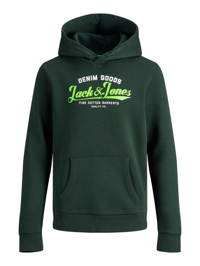 GARÇONS LOGO SWEAT À CAPUCHE, Darkest Spruce, large