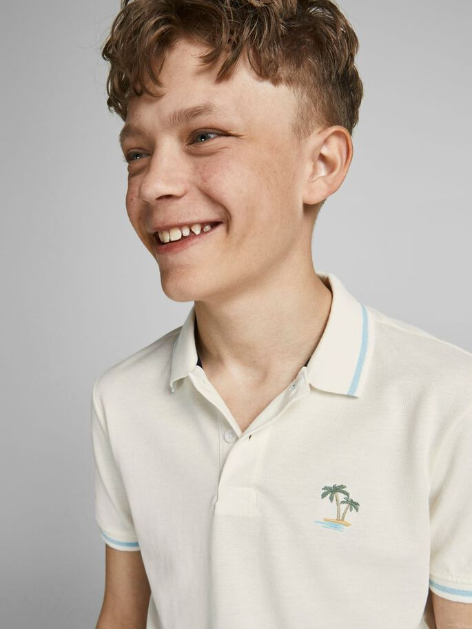 BOYS PLAIN POLO SHIRT, Cloud Dancer, large