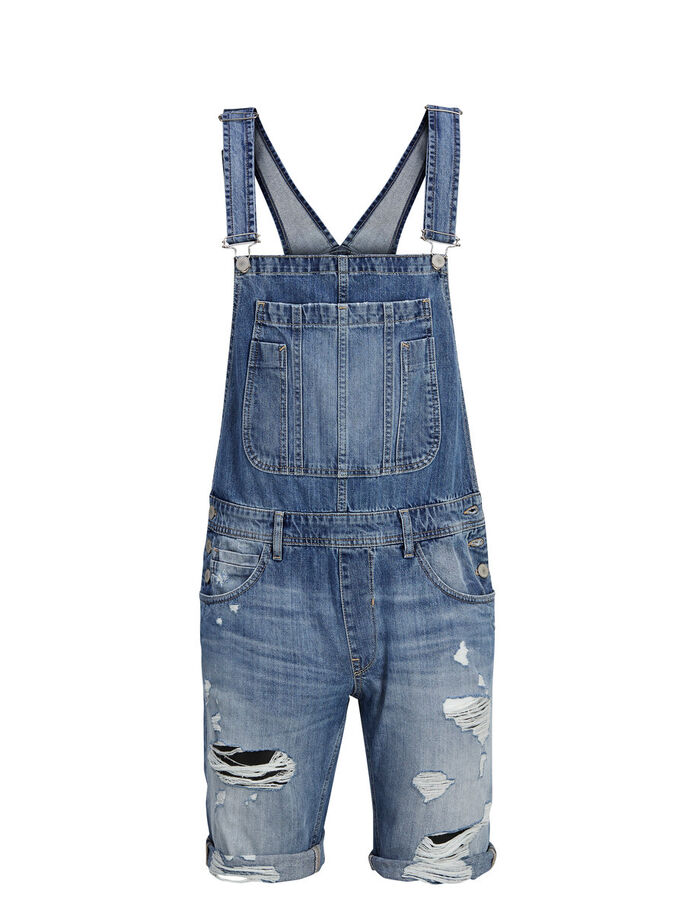 OVER ALLS DENIM SHORTS, Blue Denim, large