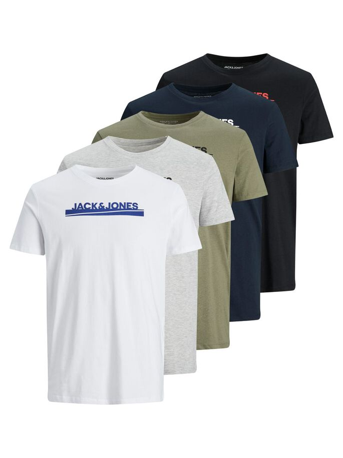 5-PACK REGULAR FIT LOGO T-SHIRT, White, large