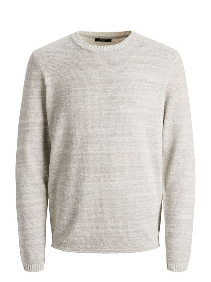ROLL EDGE CREW NECK KNITTED PULLOVER, Egret, large