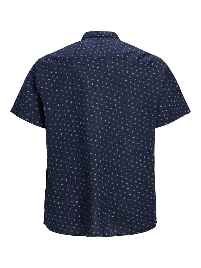 LINEN BLEND PLUS SIZE SHORT SLEEVED SHIRT, Navy Blazer, large