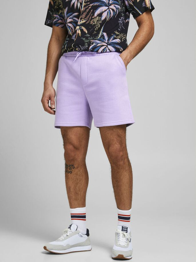 SOLID SWEAT SHORTS, Lavender, large