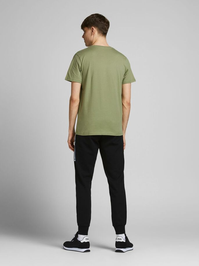 SLIM FIT LOGO PRINT T-SHIRT, Oil Green, large