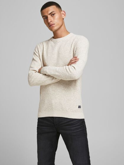 TEXTURED LINEN BLEND KNITTED PULLOVER
