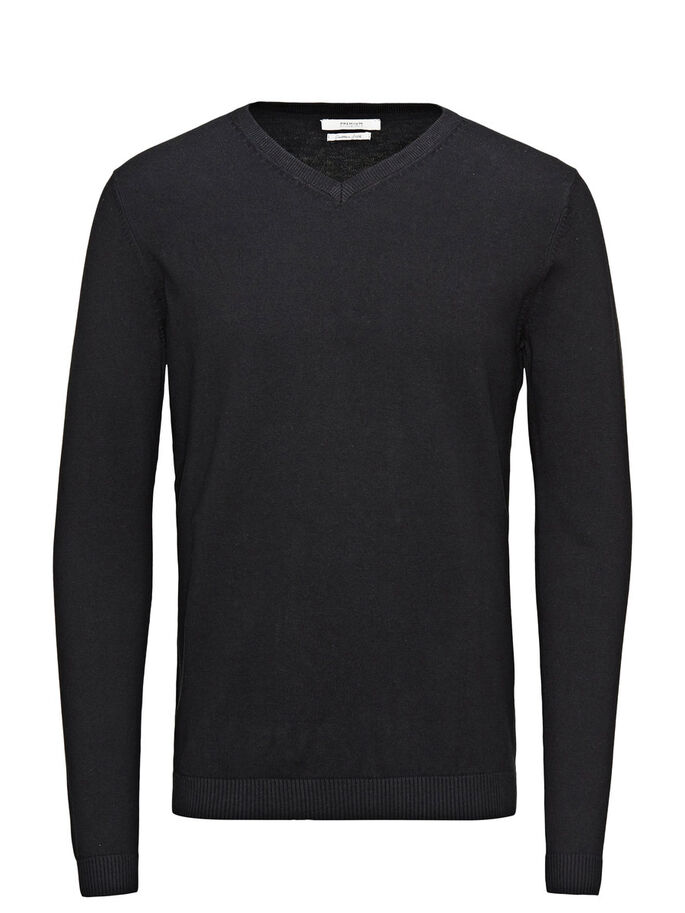 SILK BLEND V-NECK KNITTED PULLOVER, Black, large