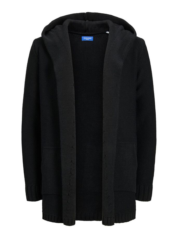 HOODED OPEN FRONT CARDIGAN, Black, large