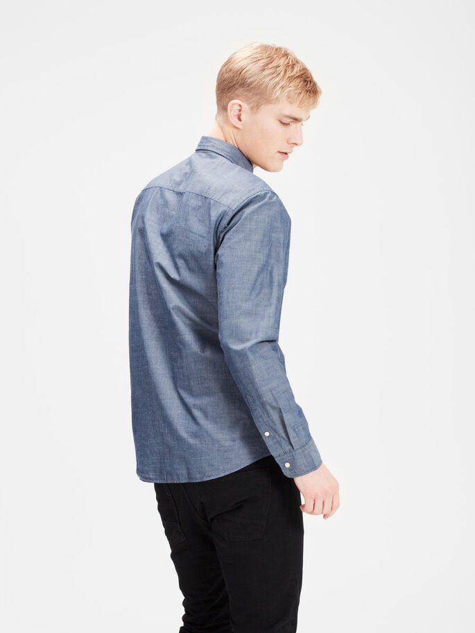 BUTTON-DOWN- LANGARMHEMD, Chambray Blue, large