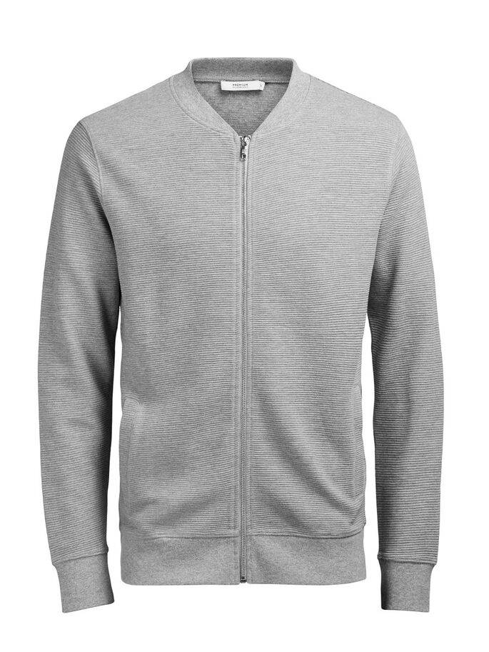 BASEBALL- SWEATSHIRT MIT REISSVERSCHLUSS, Light Grey Melange, large