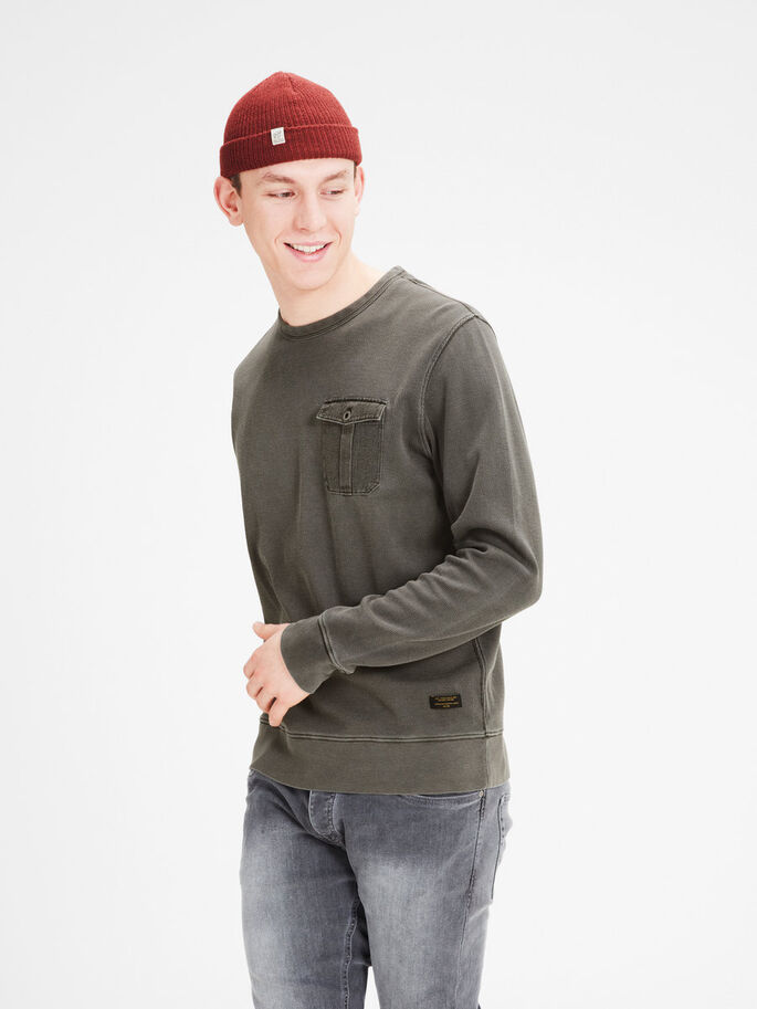 MICROGESTRUCTUREERD SWEATSHIRT, Black Olive, large