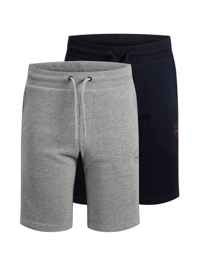 BOYS 2-PACK SWEAT SHORTS, Light Grey Melange, large