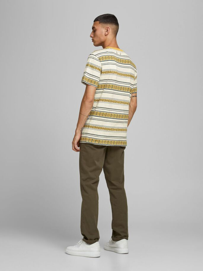 REGULAR FIT JACQUARD STRIPE T-SHIRT, Ecru, large