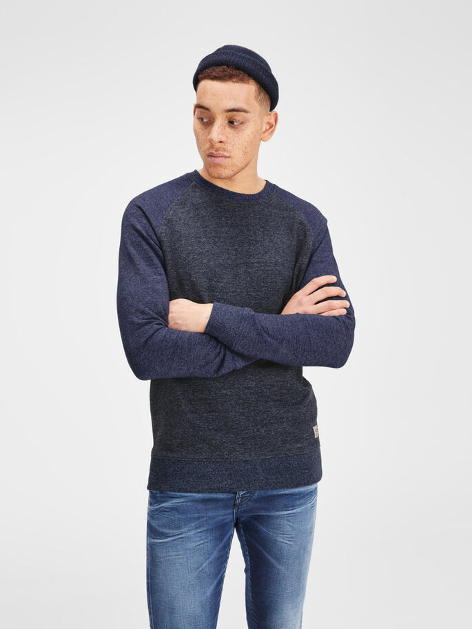 MÉLANGE CREW NECK SWEATSHIRT, Mood Indigo, large