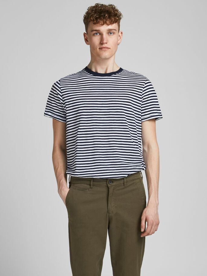 STRIPED CREW NECK T-SHIRT, New Navy, large