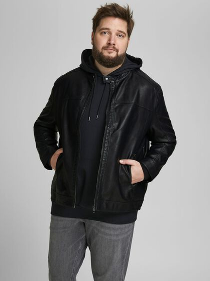 FAUX LEATHER PLUS SIZE JACKET