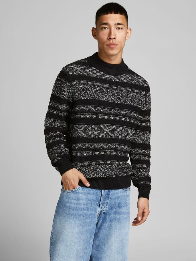 MOCK NECK KNITTED PULLOVER, Caviar, large