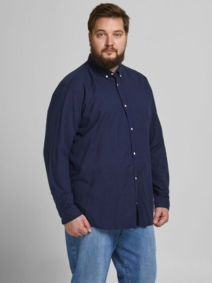 POPELINE BUTTON-DOWN PLUS SIZE HEMD