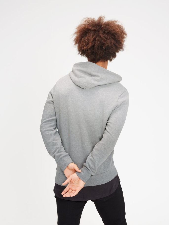 CASUAL HOODIE, Light Grey Melange, large