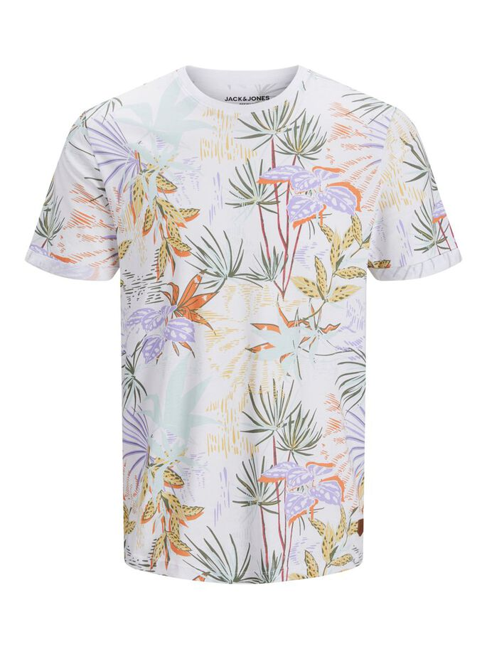 ALL OVER PRINTED T-SHIRT, White, large
