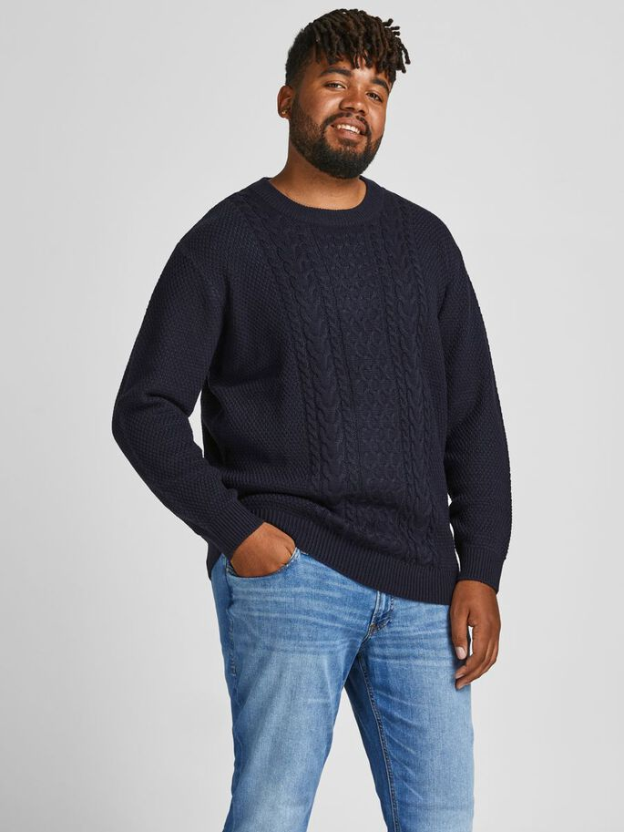 CABLE KNIT PLUS SIZE PULLOVER, Sky Captain, large