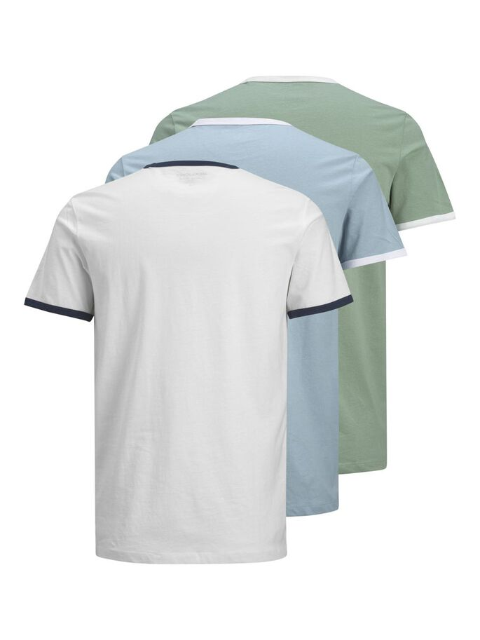 3-PACK CONTRAST TRIM T-SHIRT, White, large