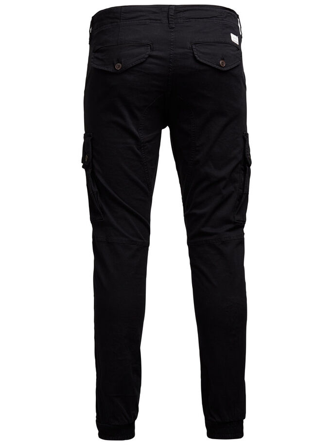 PAUL WARNER AKM 168 BLACK CARGO PANTS, Black, large