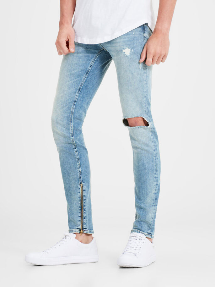 LIAM ZIP JOS 088 SKINNY JEANS, Blue Denim, large