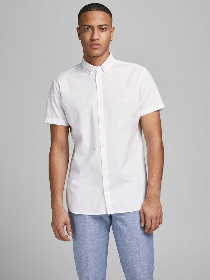 BUTTON-DOWN POPELINE OVERHEMD MET KORTE MOUWEN, White, large
