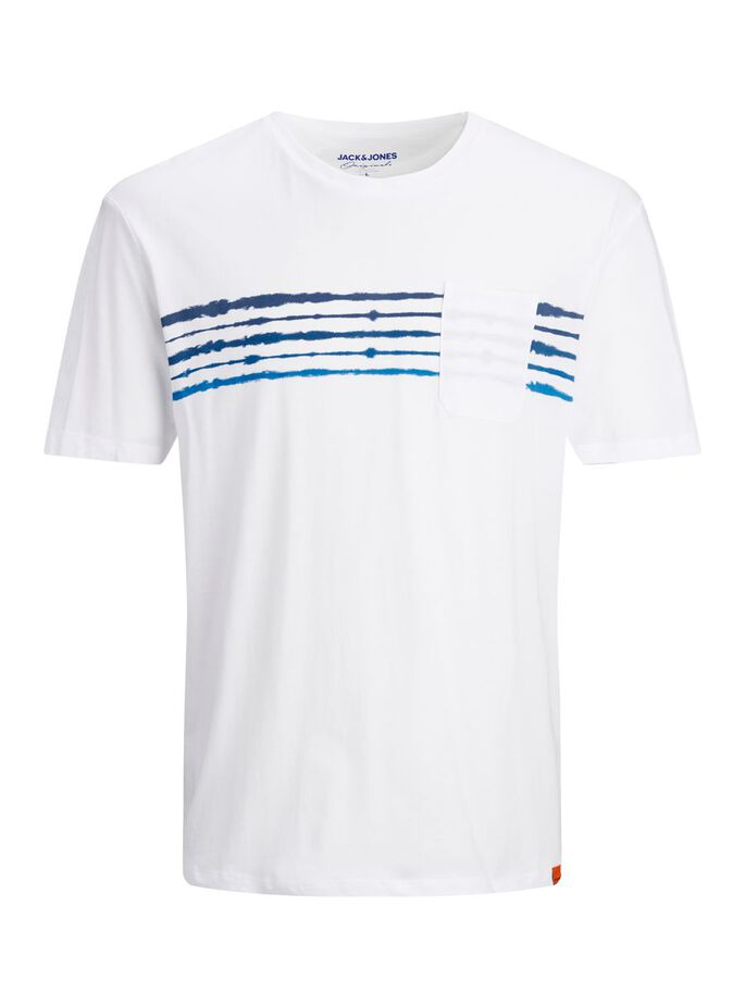 RELAXED FIT STRIBE T-SHIRT, White, large