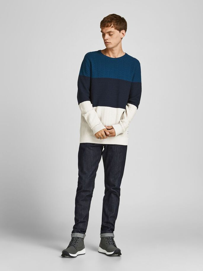 COLOUR BLOCK KNITTED PULLOVER, Sailor Blue, large