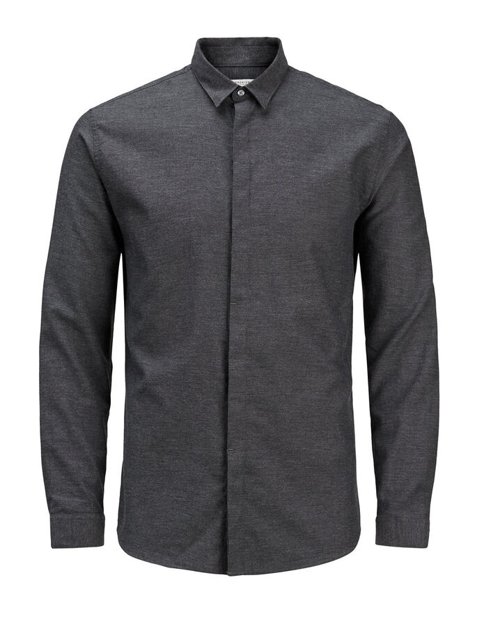 CLASSIC LONG SLEEVED SHIRT, Dark Grey Melange, large