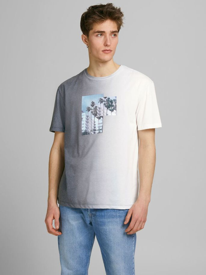 IMPRIMÉ PHOTO COUPE DÉCONTRACTÉE T-SHIRT, Ombre Blue, large