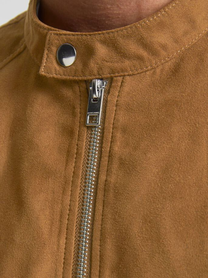 FAUX SUEDE JACKET, Tan, large