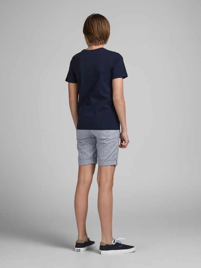 BOYS DAVE LINEN SHORTS, Blue Indigo, large
