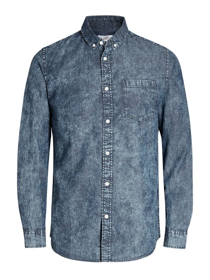 DENIM OVERHEMD MET LANGE MOUWEN, Light Blue Denim, large