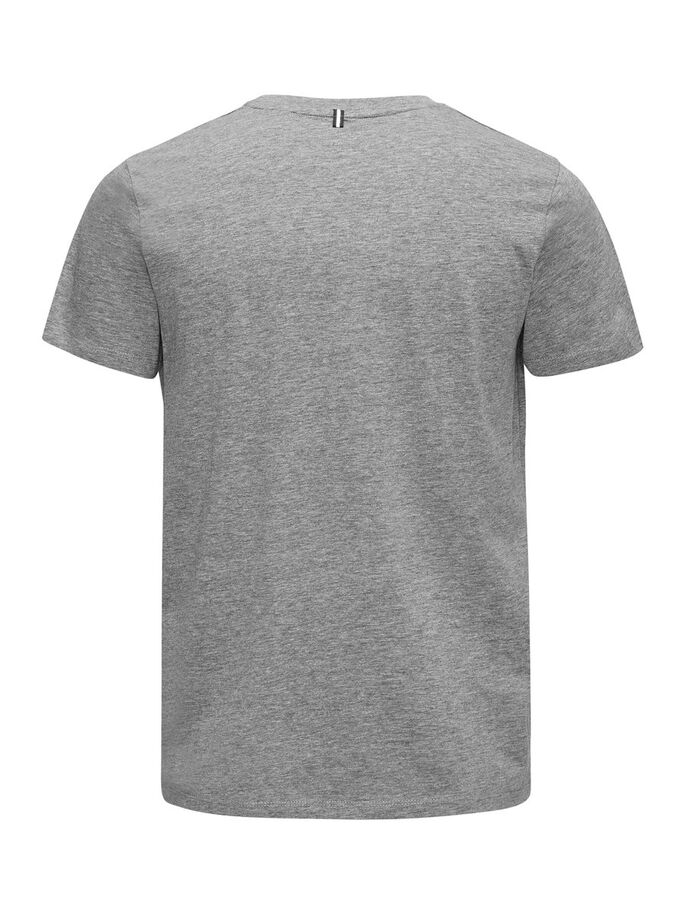 PRINTED SPORTS T-SHIRT, Light Grey Melange, large