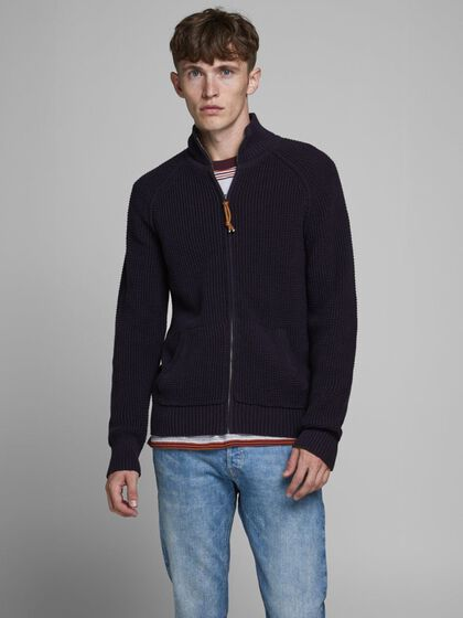 ZIP THROUGH KNITTED PULLOVER