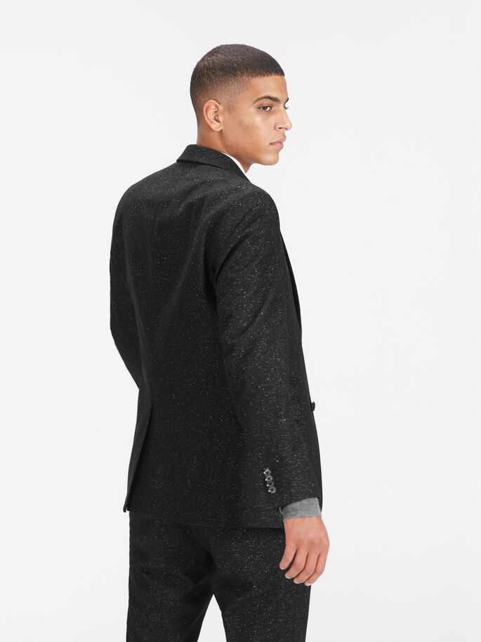 FLECKED WOOL AND SILK BLAZER, Black, large