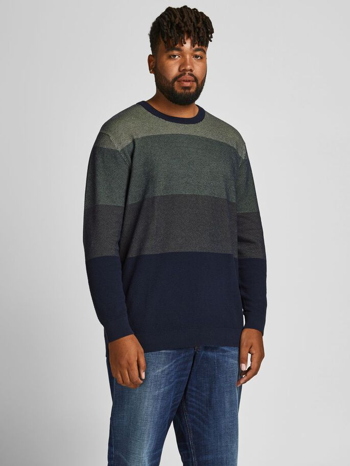 COLOUR BLOCK PLUS SIZE PULLOVER, Dusty Olive, large