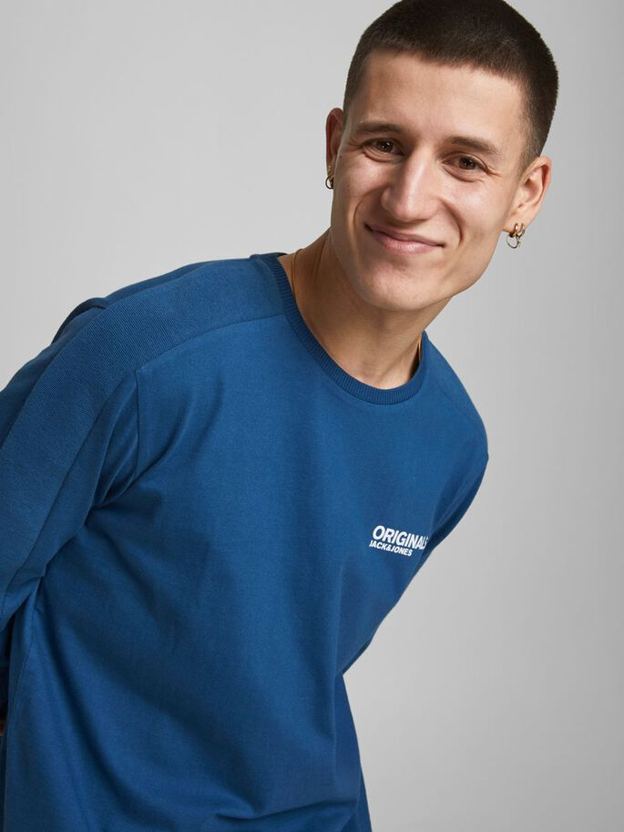 COTTON JERSEY LONG-SLEEVED T-SHIRT, Ensign Blue, large