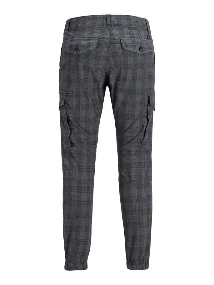 PAUL FLAKE CHECKED CARGO TROUSERS, White, large
